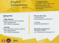 Gemasi's English Competition - Universitas Padjadjaran, 14-15 Oktober 2017