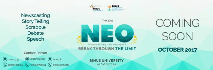 National English Olympics - Binus University Alam Sutera, 19-22 Oktober 2017