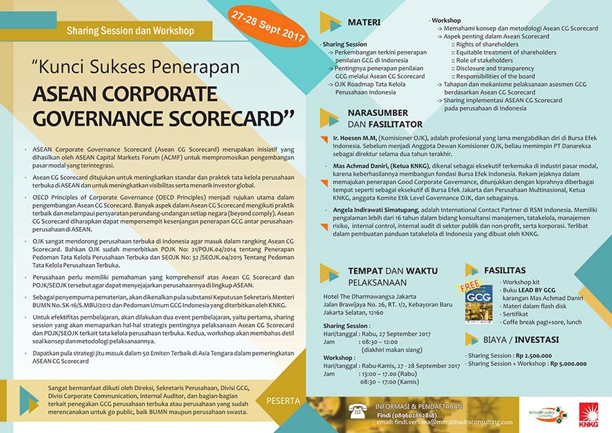 Sharing Session dan Workshop Asean Corporate Governance Scorecard - The Dharmawangsa Jakarta, 27-28 Sep 2017