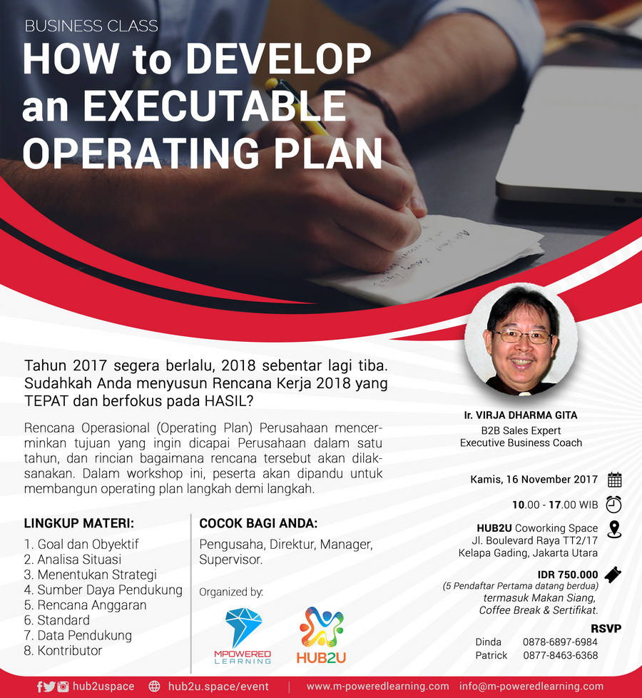 How to Develop an Executable Operating Plan - HUB2U Coworking Space, 16 November 2017