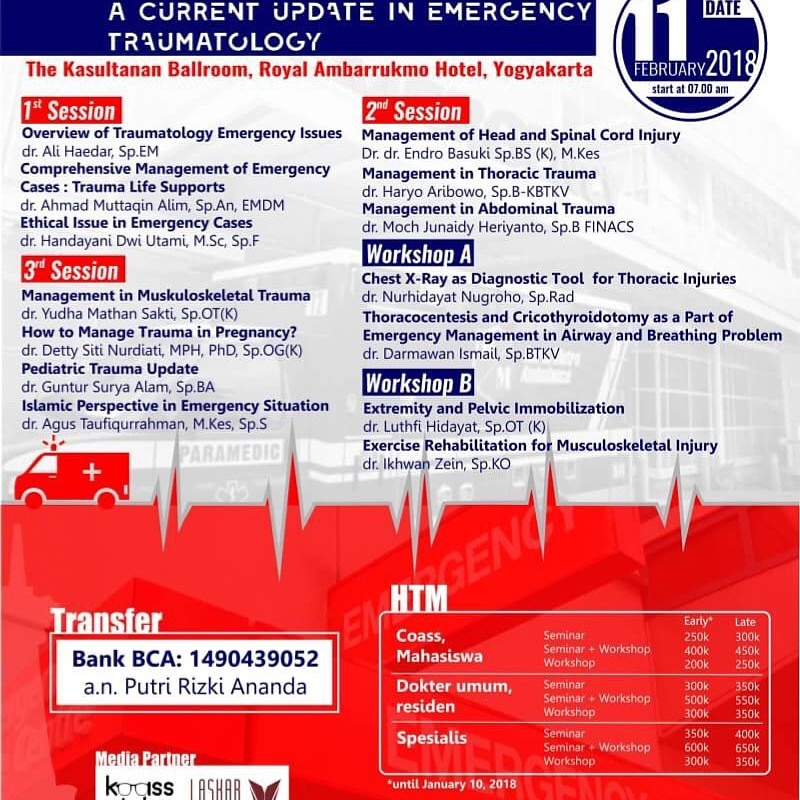 ACCIDENT : A Current Update in Emergency Traumatology - Royal Ambarrukmo Yogyakarta, 11 Februari 2018
