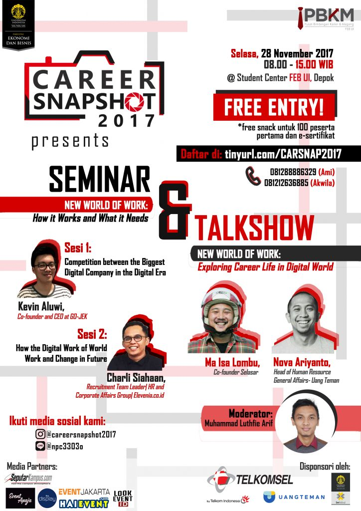 Career Snapshot Seminar & Talkshow - Universitas Indonesia, 28 November 2017