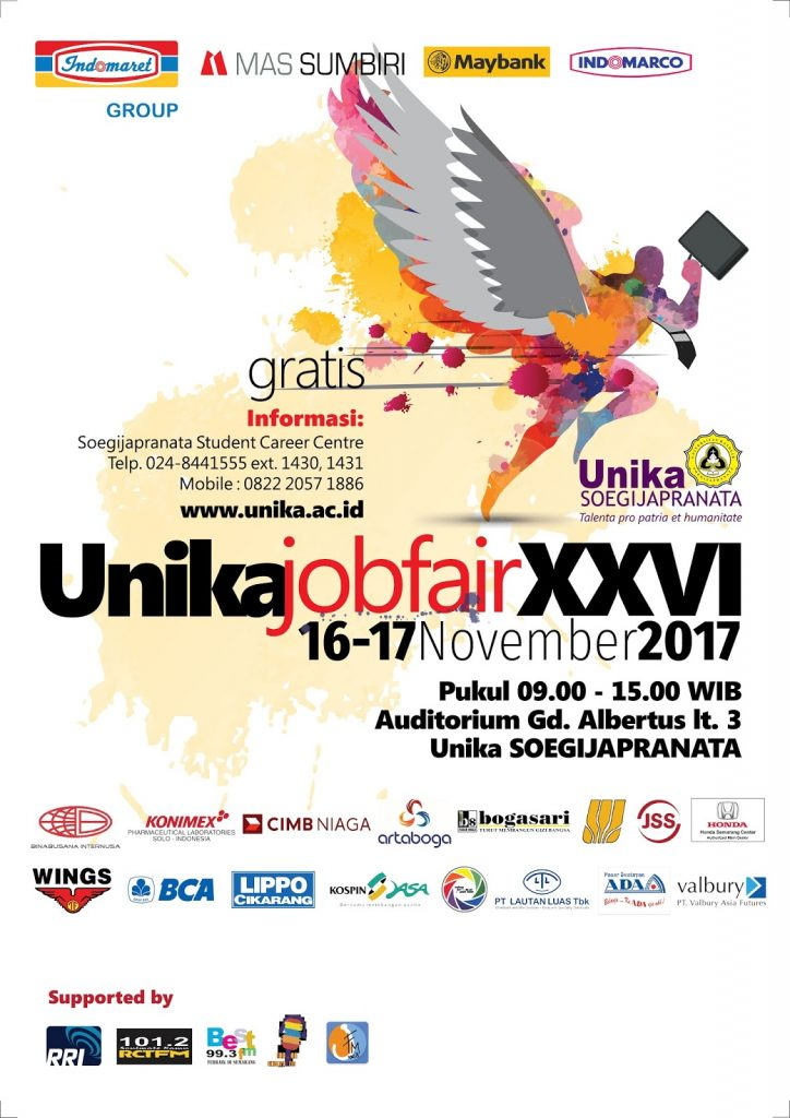 Unika Job Fair XXVI - Auditorium Gedung Albertus Unika, 16-17 November 2017