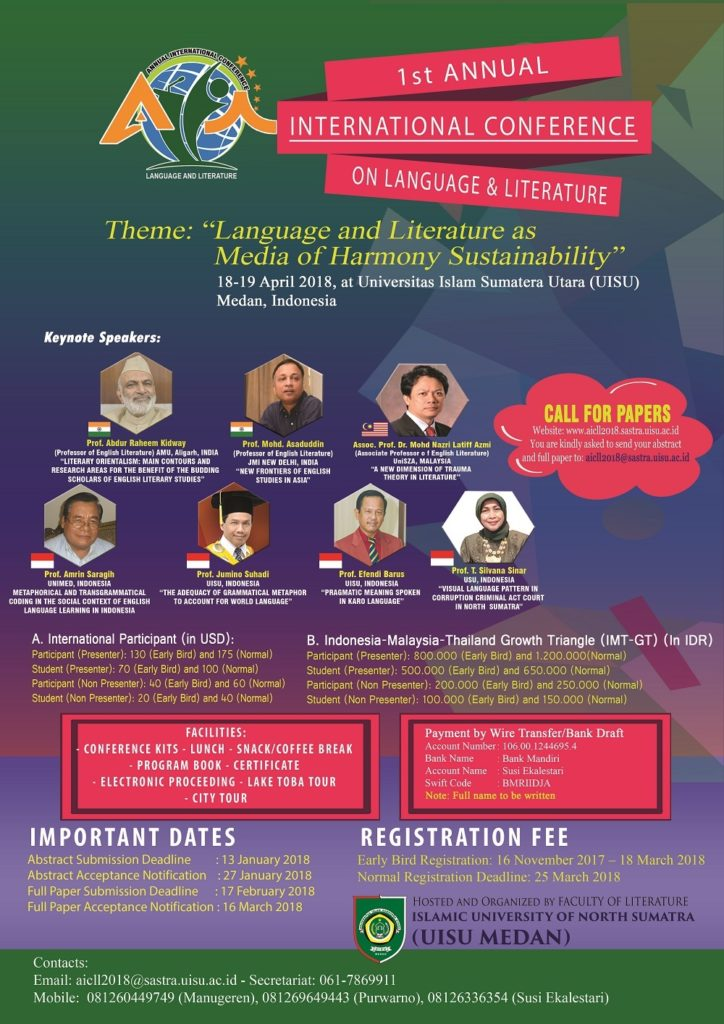 Annual International Conference on Language and Literature (AICLL) - UISU Medan, 18-19 April 2018