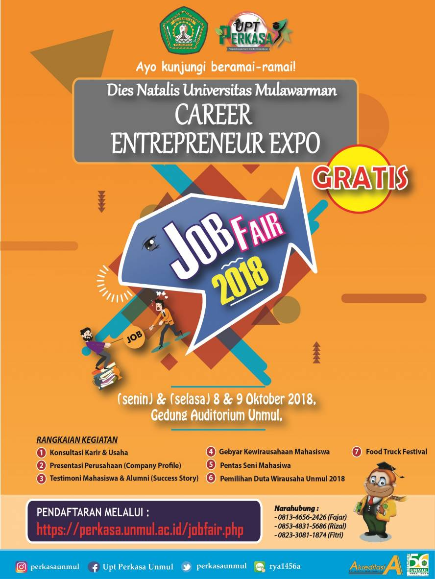 Career & Entrepreneurship Festival Job Fair - Universitas Mulawarman, 8-9 Oktober 2018