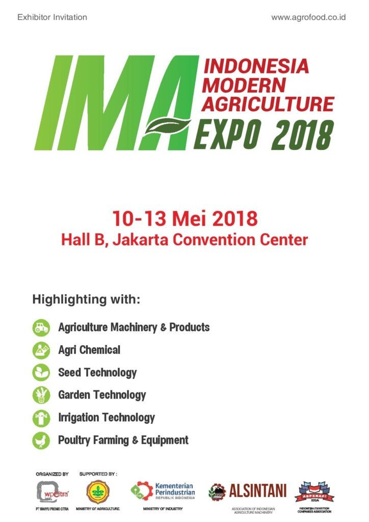 Indonesia International Modern Agriculture Expo - Jakarta Convention Center, 10-13 Mei 2018