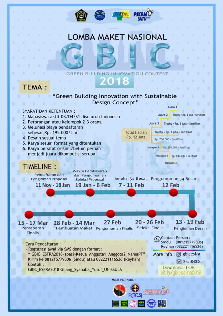 Lomba Maket Nasional Green Building Innovation Contest (GBIC) 2018 - Unissula