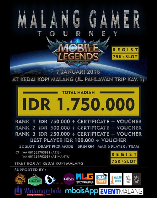 Malang Gamer Tourney Mobile Legends - Kedai Kopi Malang, 7 Januari 2018