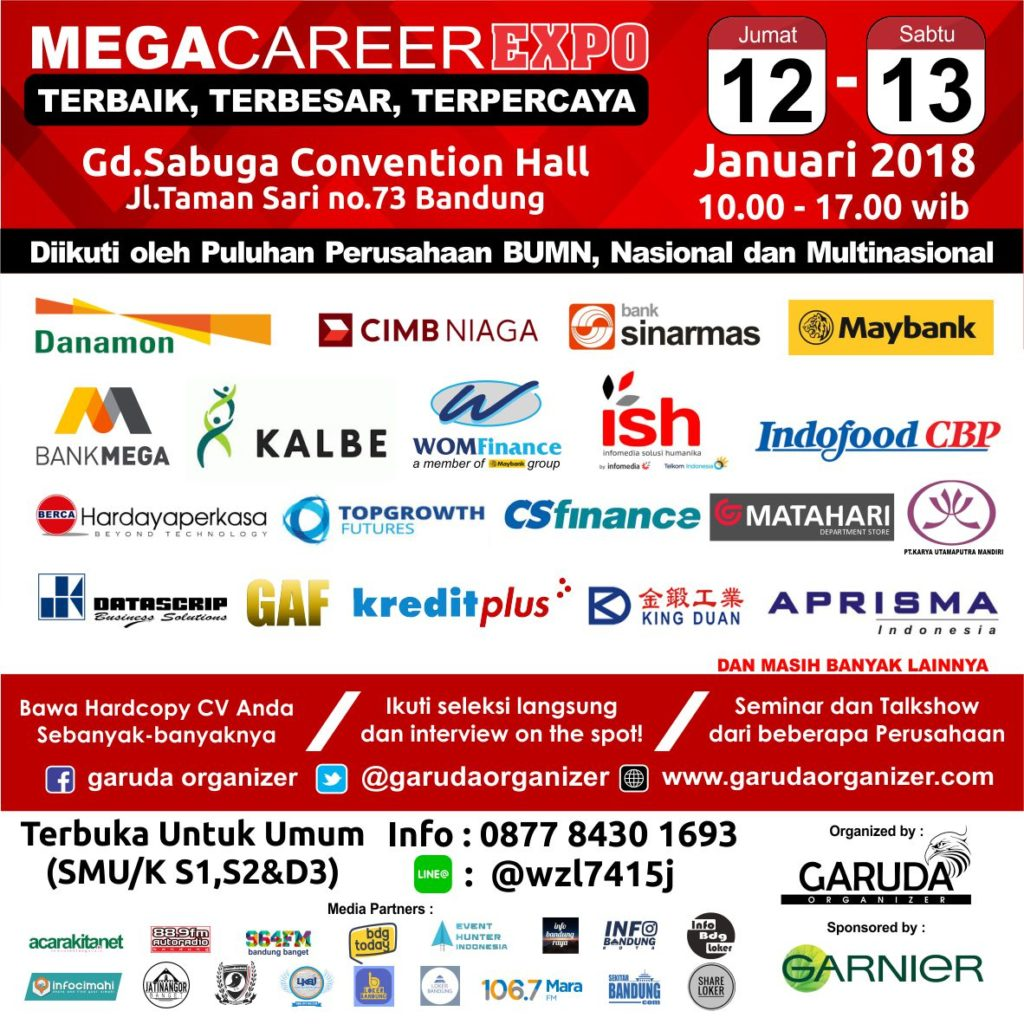 Mega Career Expo Bandung - Sabuga Convention Hall, 12-13 Januari 2018