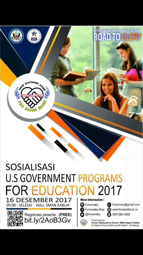 Sosialisasi US Government Programs for Education - SMAN Kabuh Jombang, 16 Desember 2017