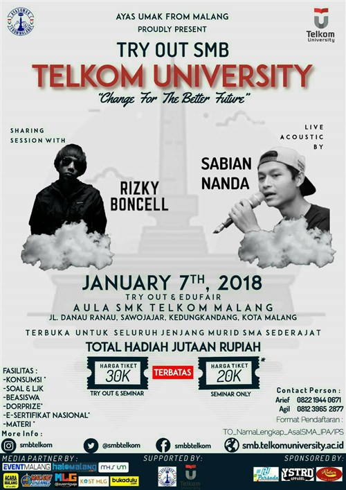 Try Out SMB Telkom University Change For The Better Future - Aula SMK Telkom Malang, 7 Januari 2018