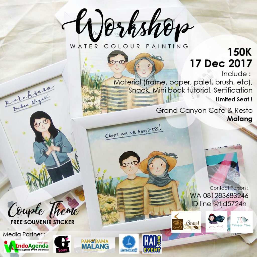 Workshop Water Colour Painting Couple Theme - Grand Canyon Cafe & Resto Malang, 17 Desember 2017