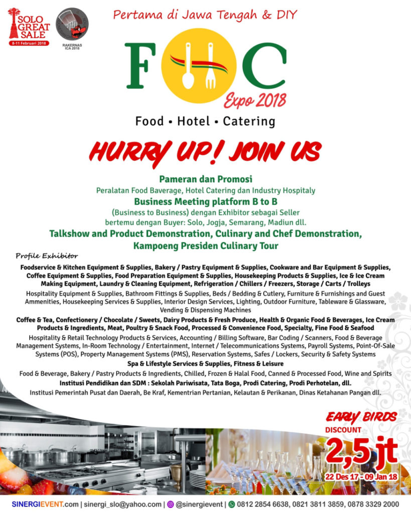 Food Hotel Catering Expo - Solo Paragon Mall, 2-4 Februari 2018