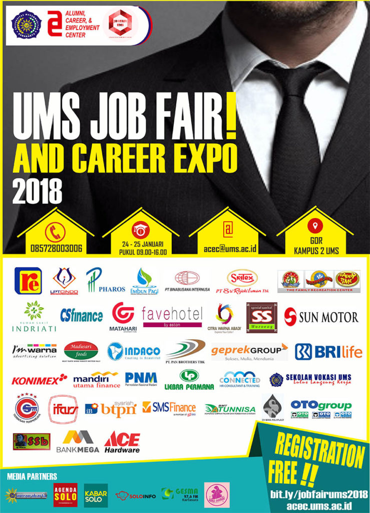 Job Fair UMS - Universitas Muhammadiyah Surakarta, 24-25 Januari 2018