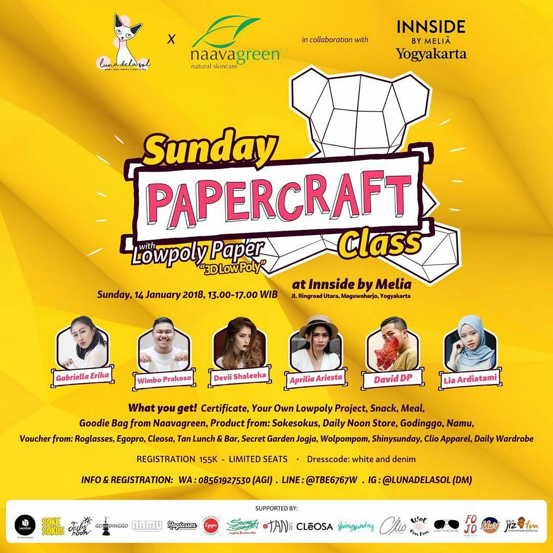 Sunday Paper Craft Class with Lowpoly Paper - Innside by Melia Yogyakarta, 14 Januari 2018