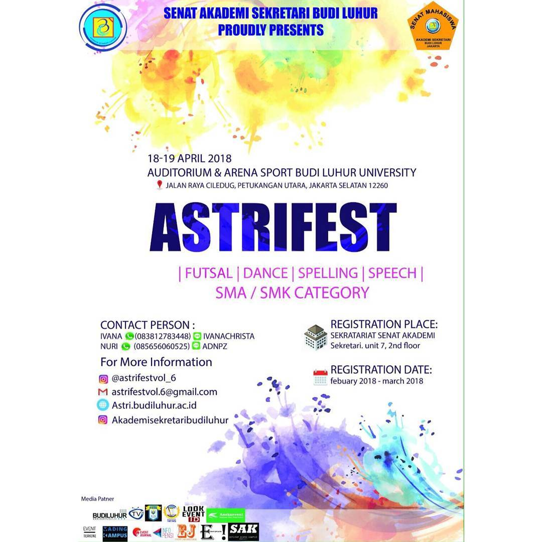 Astri Fest Vol. 6 - Universitas Budi Luhur, 18-19 April 2018