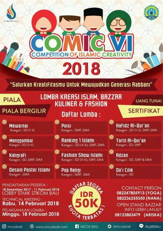 Competition of Islamic Creativity (COMIC) VI - Bali, 18 Feb 2018