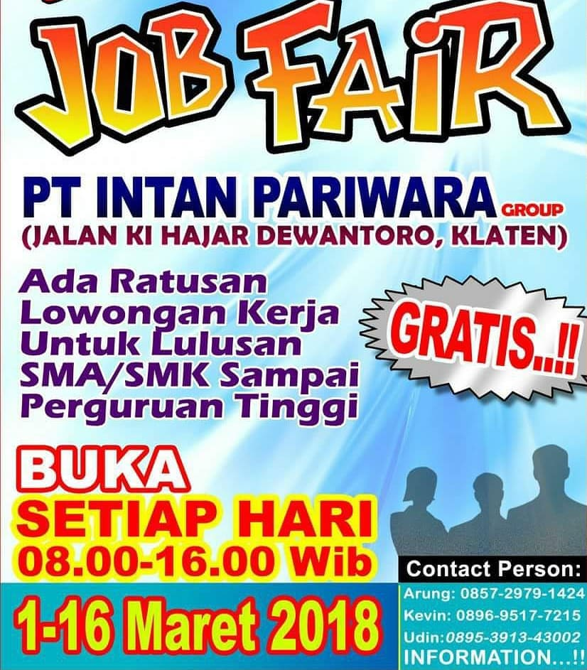 Job Fair PT. Intan Pariwara Group - Klaten, 1-16 Maret 2018