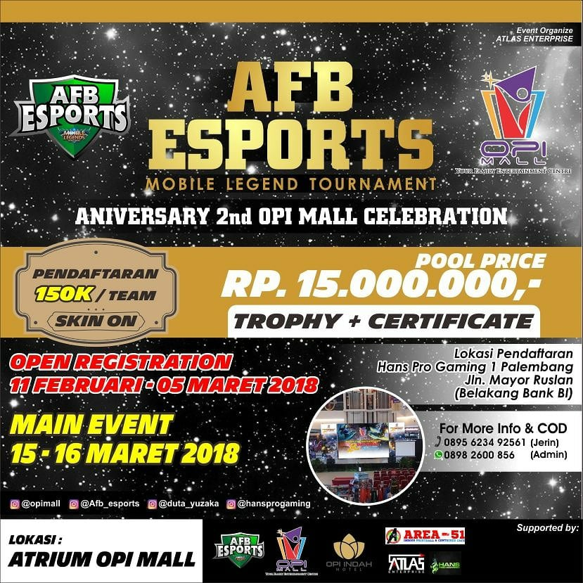 OPI Mall Mobile Legend Tournament - Palembang, 15-16 Maret 2018