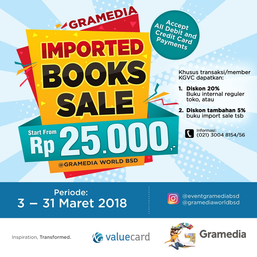 Gramedia World BSD Imported Books Sale, 3-31 Maret 2018