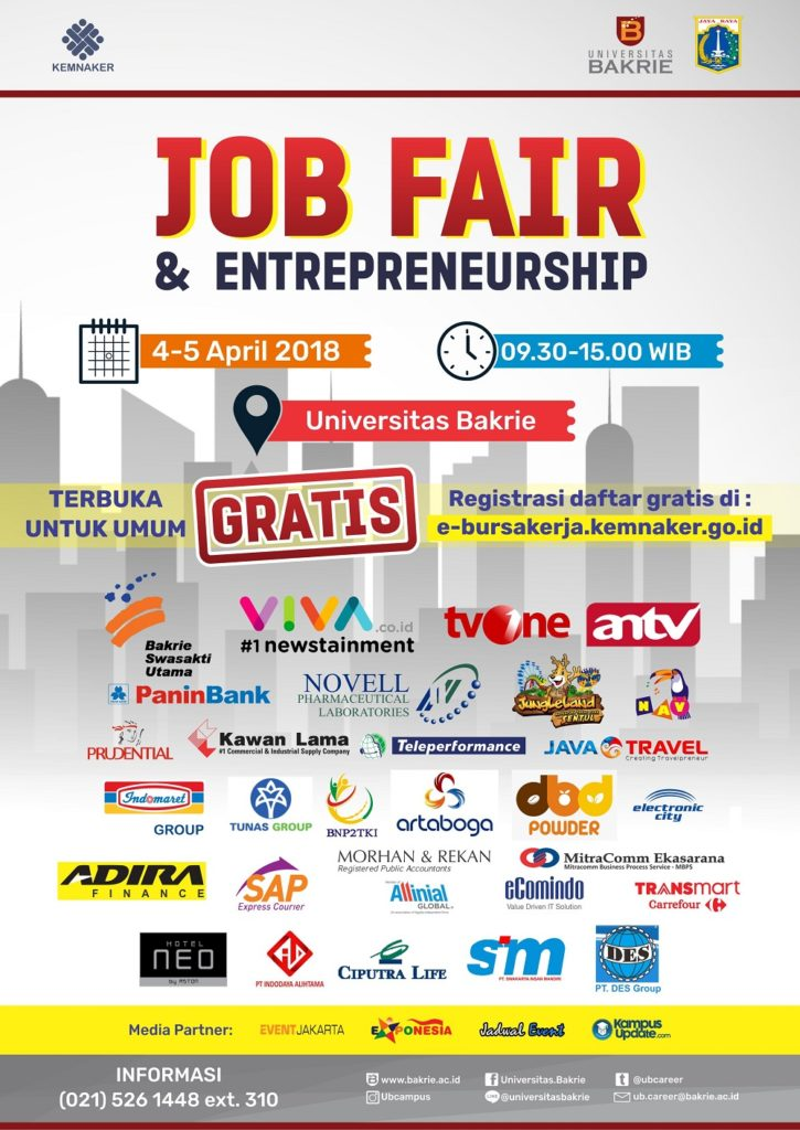 Job Fair & Entrepreneurship - Universitas Bakrie, 4-5 April 2018Job Fair & Entrepreneurship - Universitas Bakrie, 4-5 April 2018