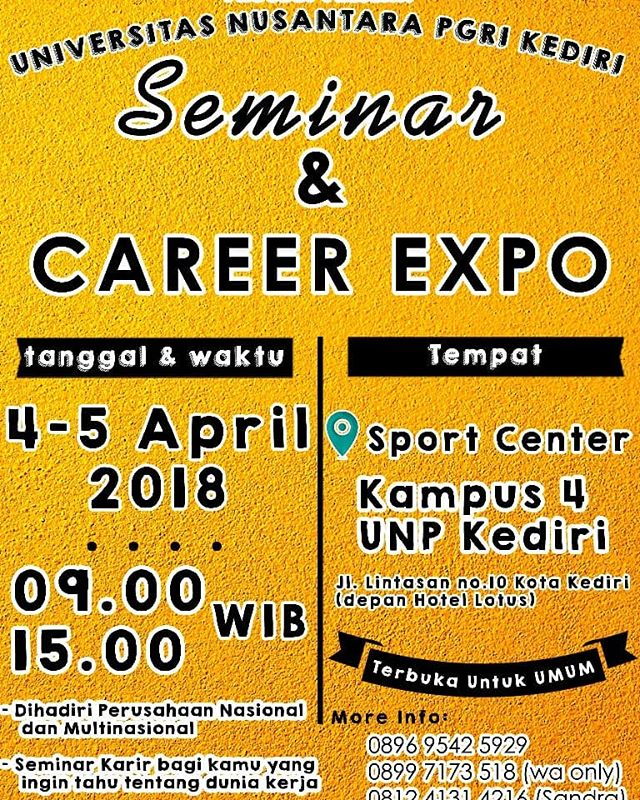 Seminar & Career Expo UNP Kediri, 4-5 April 2018