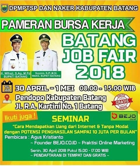Batang Job Fair - Pendopo Kabupaten Batang, 30 April - 1 Mei 2018