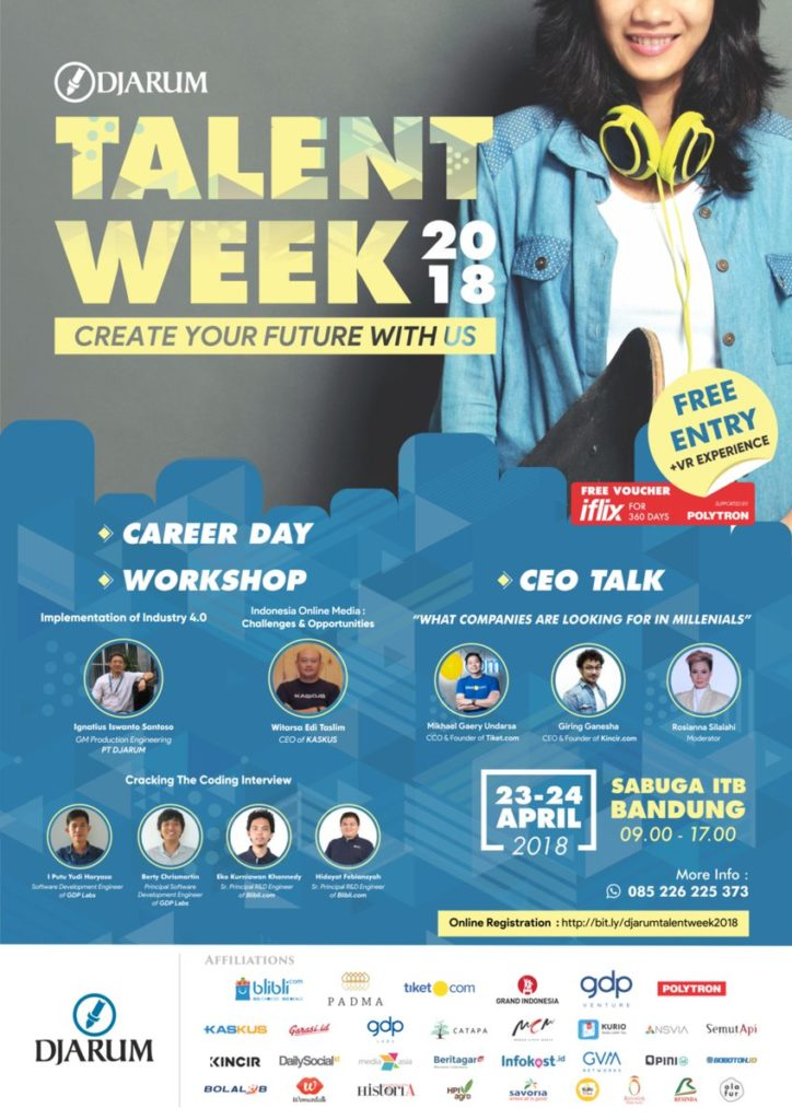 DJARUM Talent Week - Sabuga ITB Bandung, 23-24 April 2018