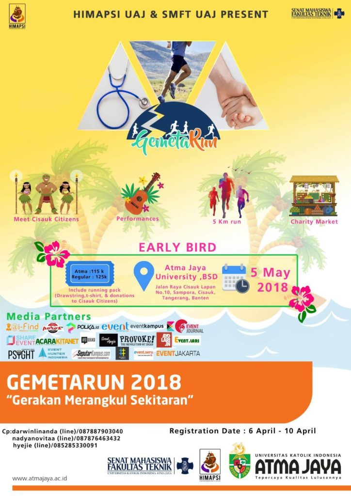 "GemetaRun ""5k Run & Charity Event"" - Kampus Atma Jaya BSD, 5 Mei 2018"