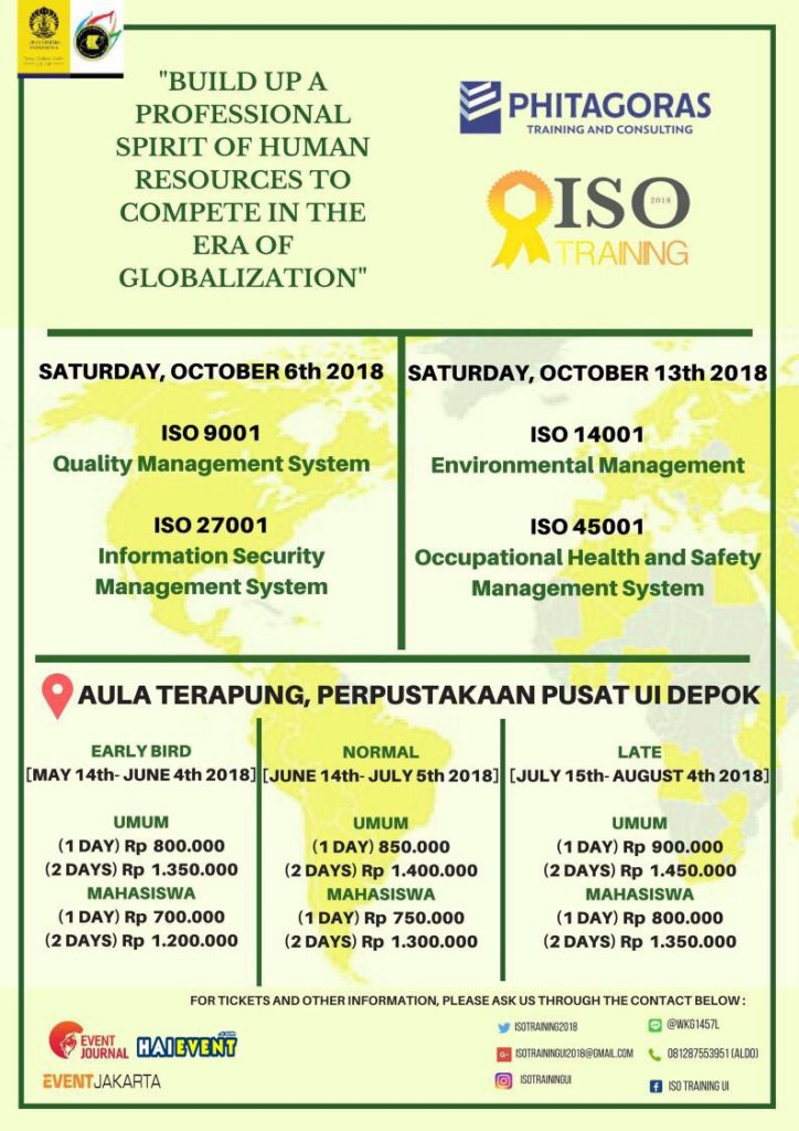 ISO Training UI - Aula Terapung Universitas Indonesia, 6 & 13 Oktober 2018