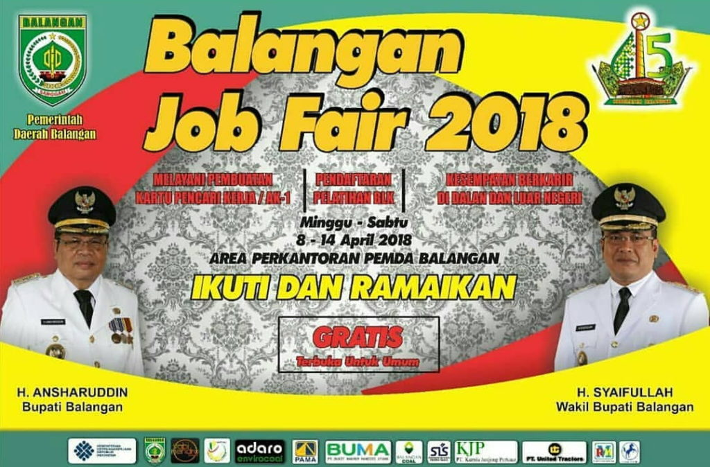 Job Fair Balangan - Kalimantan Selatan, 8-14 April 2018