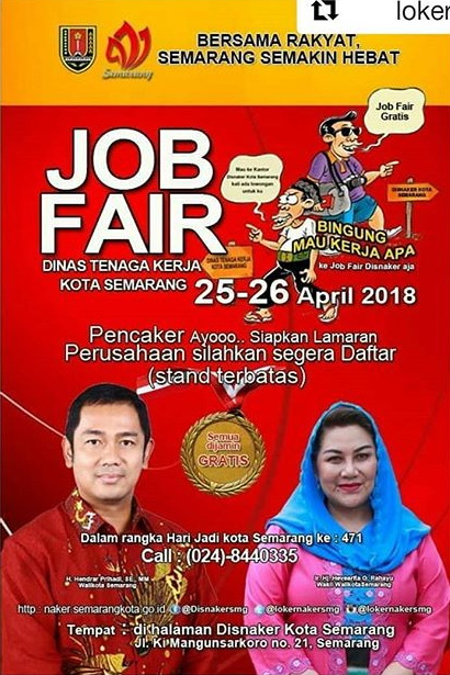 Job Fair Disnaker Kota Semarang, 25-26 April 2018
