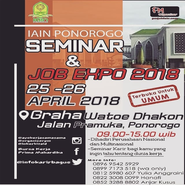 Job Fair IAIN Ponorogo - Gedung Graha Watoe Dhakon, 25-26 April 2018