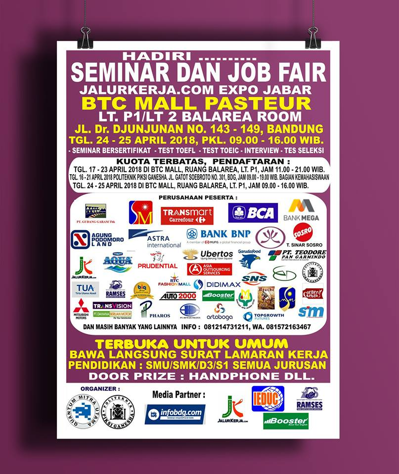Seminar & Job Fair Jalurkerja Expo Jabar - BTC Mall Pasteur, 24-25 April 2018