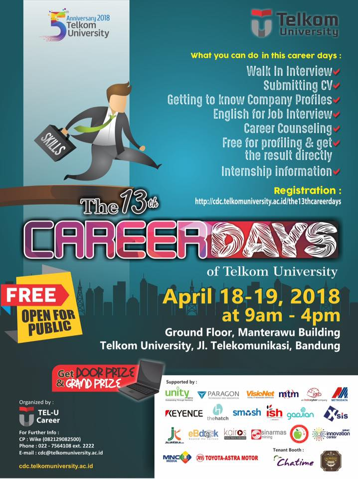 The 13th Career Days of Telkom University - Bandung, 18-19 April 2018