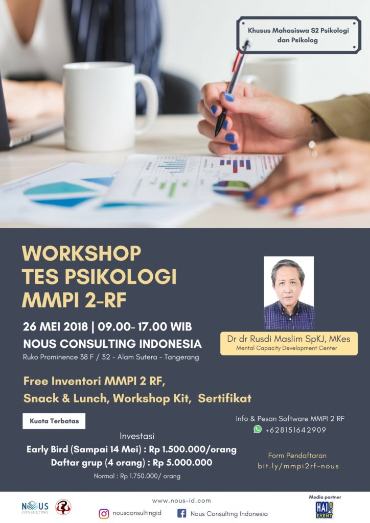 Workshop Tes Psikologi MMPI 2 RF - Nous Consulting Indonesia, 26 Mei 2018