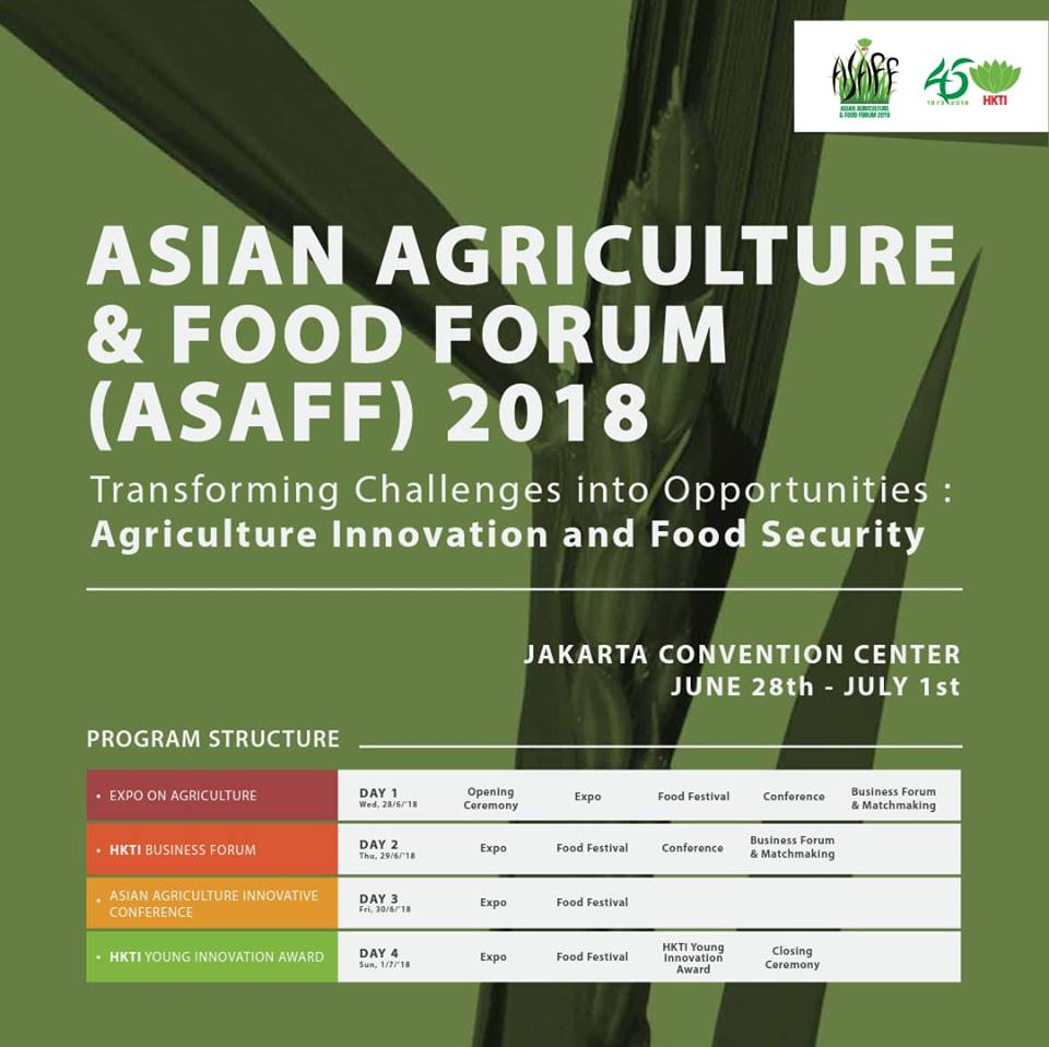 Asian Agriculture & Food Forum (ASAFF) - Jakarta Convention Center, 28 Juni - 1 Juli 2018