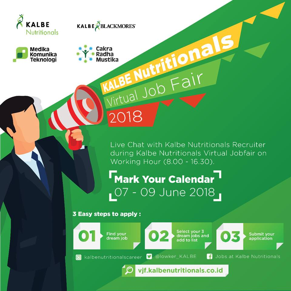 Kalbe Nutritionals Virtual Job Fair, 07-09 Juni 2018