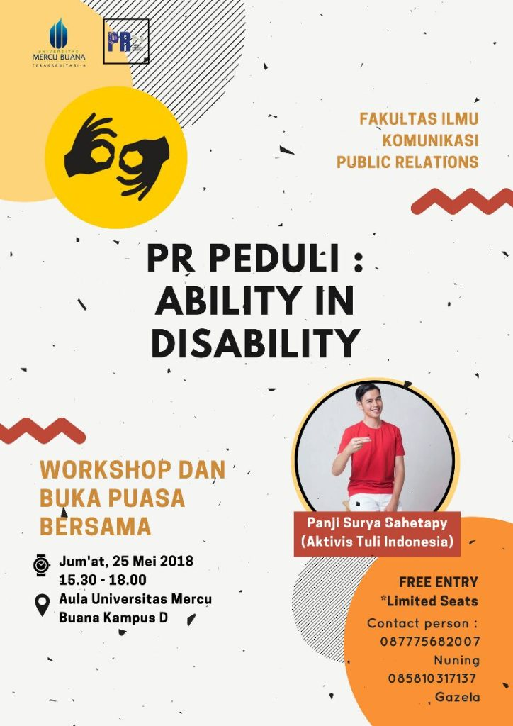 PR Peduli: Ability in Disability - Universitas Mercu Buana Bekasi, 25 Mei 2018