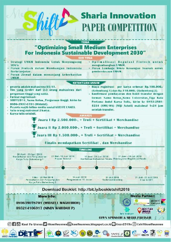 SHIFT (Sharia Innovation Paper Competition) 2018 - KSEI FE Unnes
