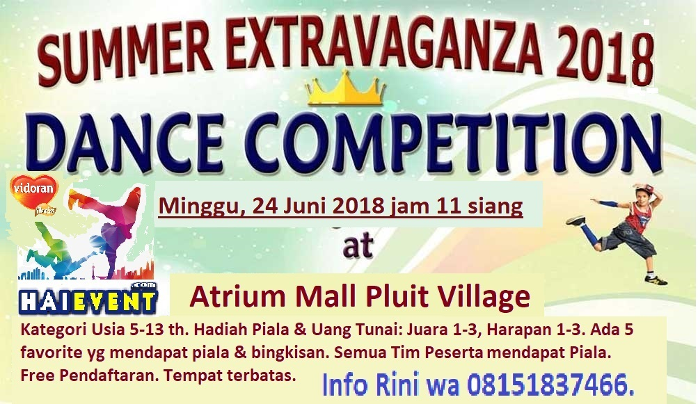 Lomba Anak Summer Dance Competition - Atrium Mall Pluit Village, 24 Juni 2018