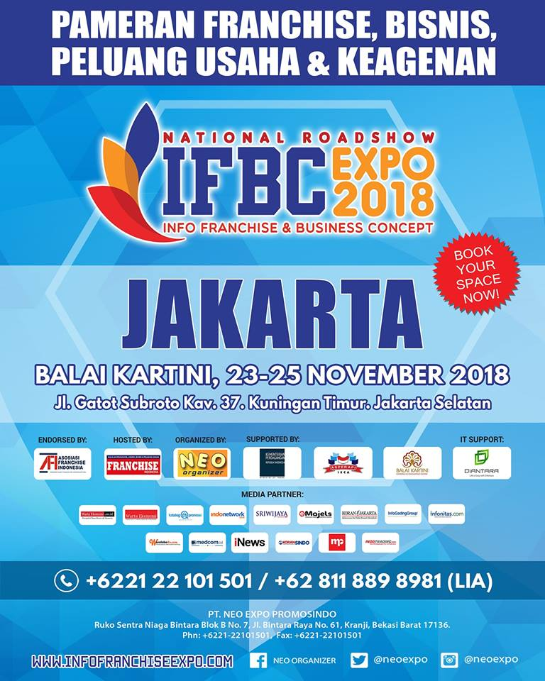 Info Franchise & Business Concept Expo (IFBC) Jakarta - Balai Kartini, 23-25 November 2018