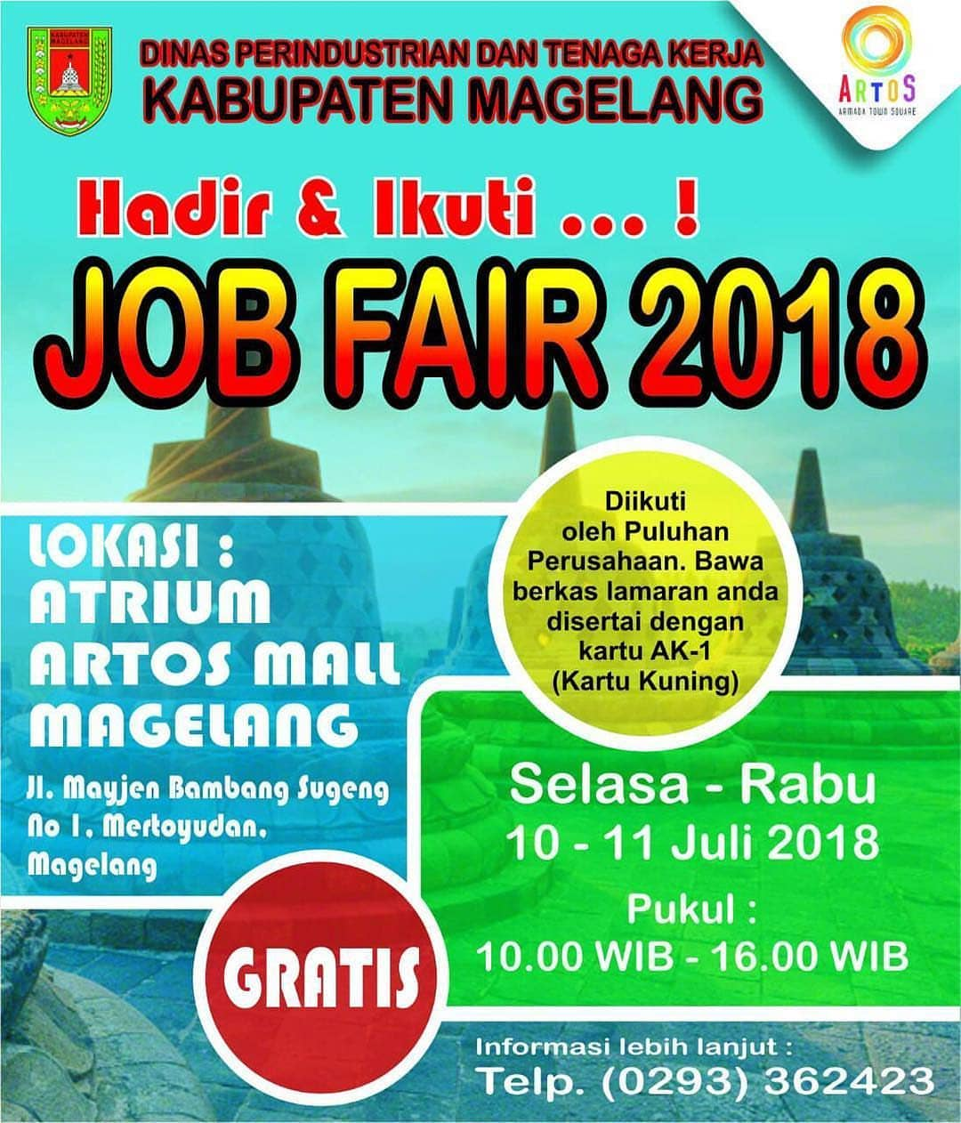 Job Fair Magelang - Atrium Artos Mall, 10-11 Juli 2018