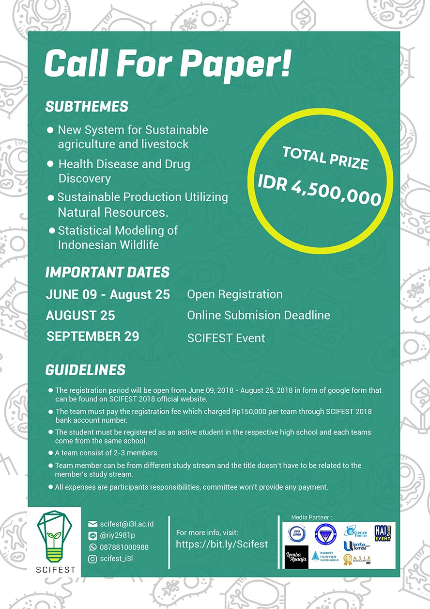 SciFest : Call for Paper - Indonesia International Institute for Life Sciences, 09 Juli - 25 Agustus 2018