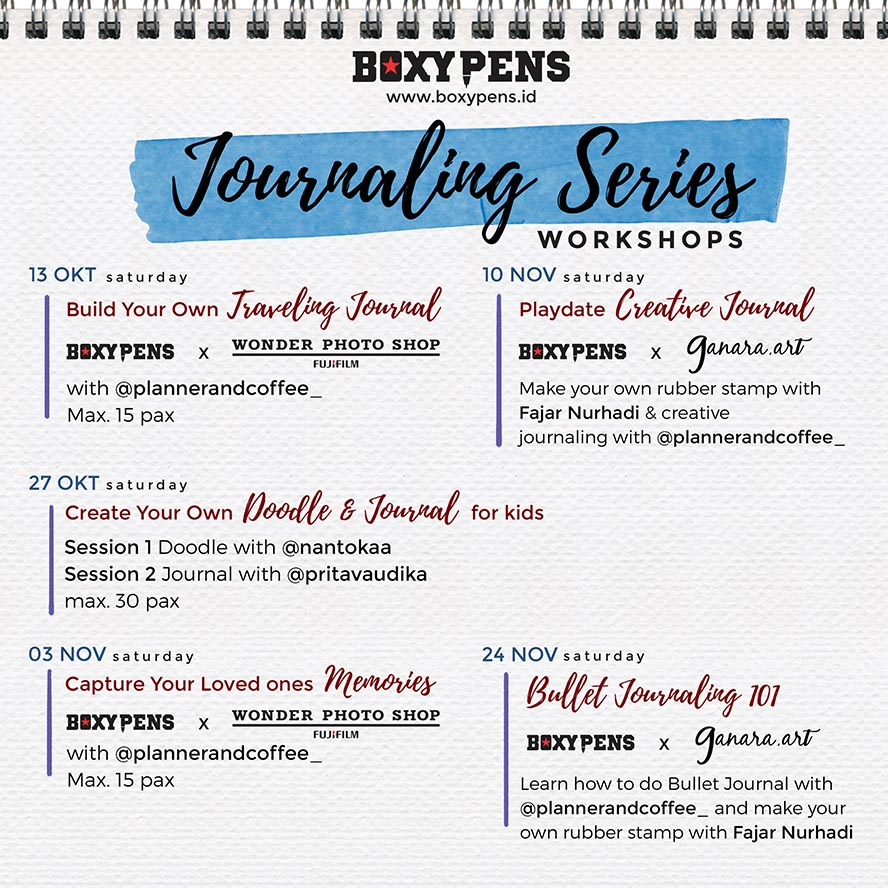 Boxypens Journaling Series Workshop - Jakarta, 13 Oktober - 24 November 2018