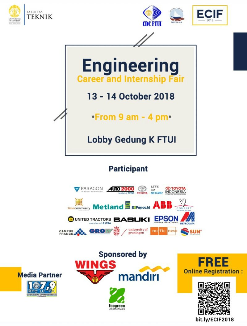Engineering Career and Internship Fair - Universitas Indonesia, 13-14 Oktober 2018