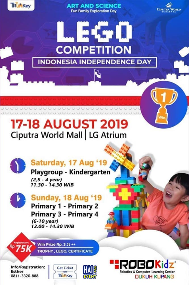 Art and Science & Lego Competition – Ciputra World Surabaya, 17-18 Agustus 2019