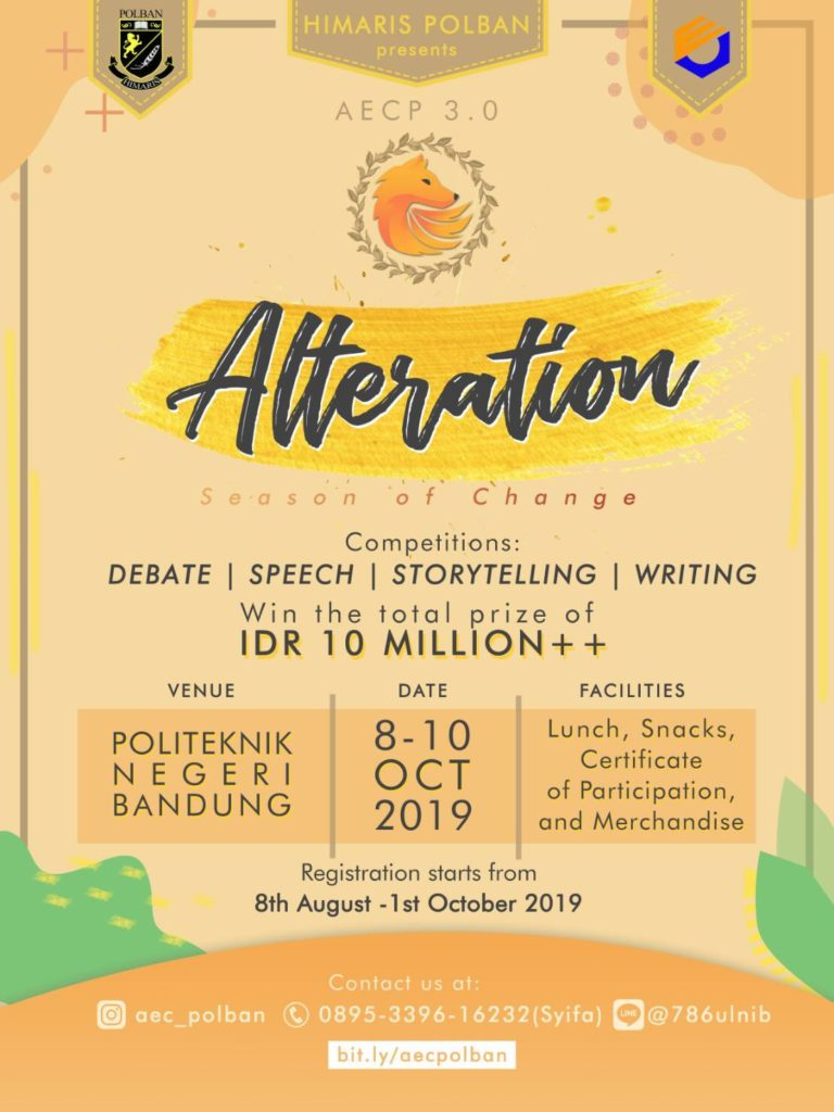 Annual English Competition: Season of Change – Politeknik Negeri Bandung, 8-10 Oktober 2019