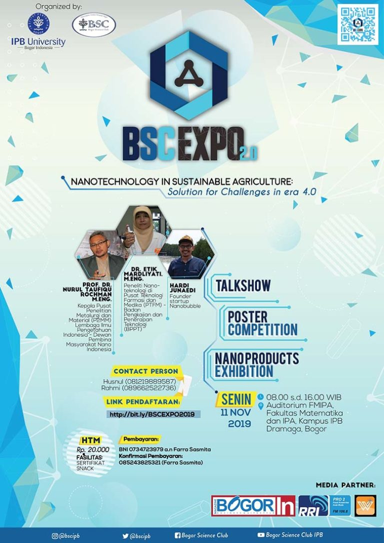 "BSC Expo 2.0 ""Nanotechnology in Sustainable Agriculture"" – IPB, 11 November 2019"