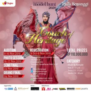Plangi Model Hunt 2020 'A Touch of Heritage' – Plaza Semanggi, 23-24 November 2019